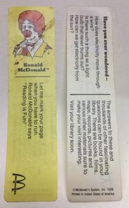 McDonald's Bookmark